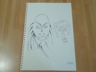 Original Pen Drawing Outsider Art A4 Size 'Just Married' by Tim Hughes