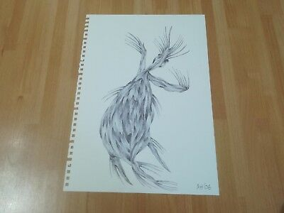 Original Pen Drawing Outsider Art A4 Size 'Ghost' by Tim Hughes