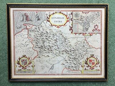 17th C county map of Denbighshire  Theatre of Great Britain  by John Speede 1610