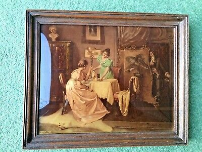 """19th C Cristoleum picture by V Angerer """"The Eavesdropper"""" after AH Priechenfried"""