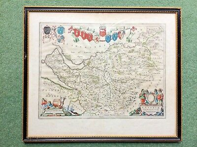 17th C Cheshire copper engraving map by Joan Blaeu 1596 - 1673 from Atlas Major