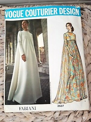VOGUE COUTURIER DESIGN PATTERN 2537 FABIANI ITALY 70's EVENING WEDDING GOWN 10