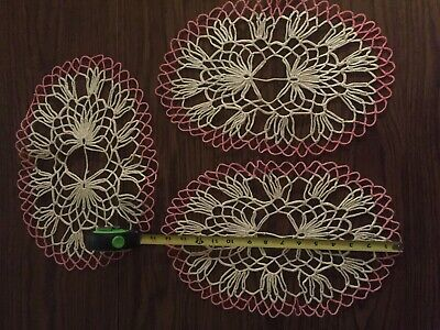 3 Vintage Pink & White  Cotton Crochet Lace Doilies Oval Shaped  Hand made