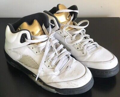 finest selection 47fff b0760 Nike Air Jordan 5 Retro GS Olympic Gold Coin White Black 440888-133 Size 7Y