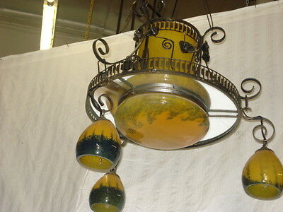 Art Deco Style  Wrought Iron /Glass Chandelier Yellow Multicolor