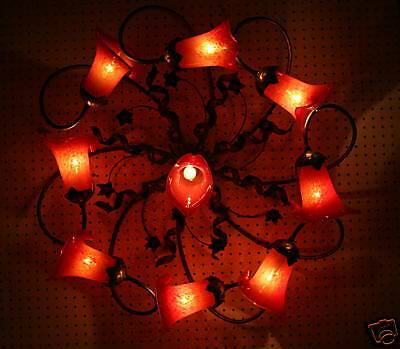Handcrafted Art Deco Style Wrought Iron Ceiling Lamp 9 Hand Blown Glass Shades