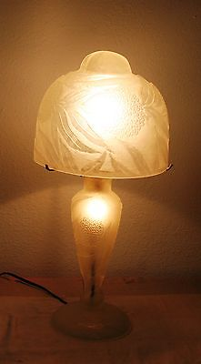 Modern French Art Deco Handmade White  Frosted Glass Table Lamp  Flowers  Europe