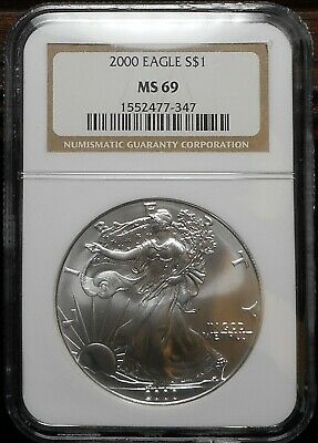 2000 American Silver Eagle NGC MS69 Brown Label