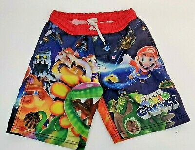 50bda13c19 Boys Nintendo Super Mario Brothers Swim Trunks Swimwear Shorts Size Small  6/7
