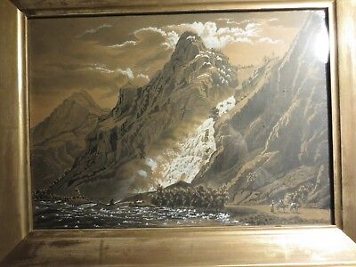antique painting under glass. waterfall in the mountains. gold frame