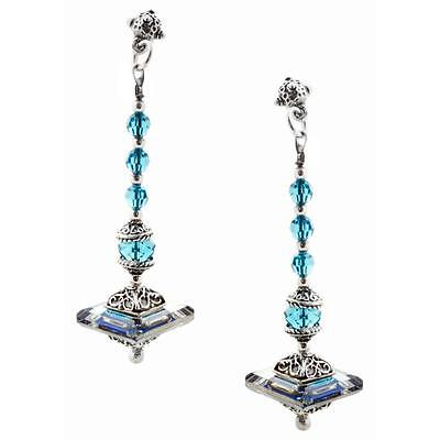 S137 ~ Sterling Silver & Swarovski Medieval Drop Earrings