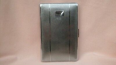 Vintage Art Deco Chrome Machine Turned Cigarette Case In Very Good Vintage Cond.
