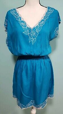 153a252690 NWT Club Z Collection Women's Beach Swim Pool Cover up Dress Blue Size Small