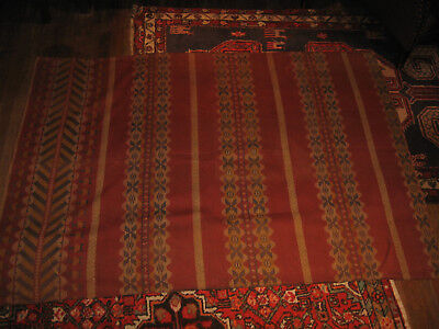 """Antique c1890-1920 Tapestry Woven Fabric 65""""x48""""  Fragment Panel Hemmed"""