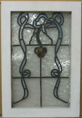 "OLD ENGLISH LEADED STAINED GLASS WINDOW Nice Abstract Floral Design 14.5"" x 21"""