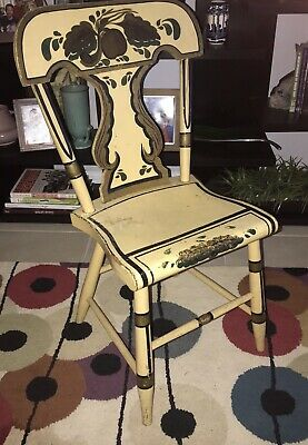 Early Antique Paint Decorated Plank Bottom Chair / Folk Art