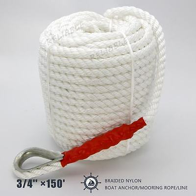 3//4/'/'×200/' Twisted Three Strand dock line rope cord boat Anchor//Mooring US STOCK