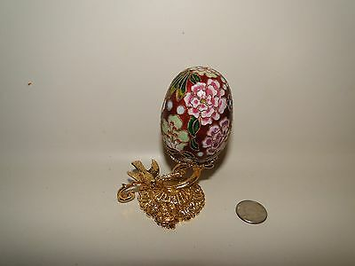 "Chinese 2 3/4"" Egg Shape Cloisonne with Very Ornate Gold Metal Stand, Past Time"