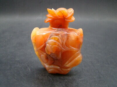Chinese 1920's nice carved nature color agate small bottle with cover  t6841