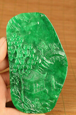 Collectible Chinese Natural Green Jadeite Jade Old Man & Child Handwork Pendant