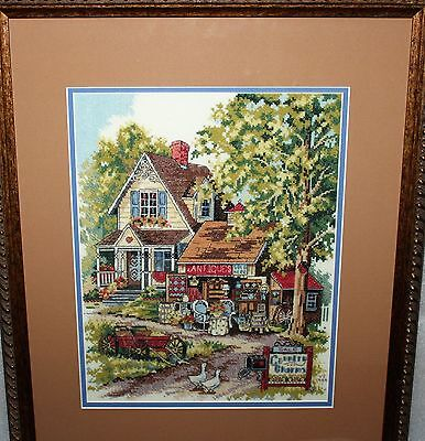ANTIQUE CHARM Sunset hand made cross stitch Country Farm professionally framed