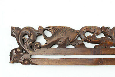 Balinese Wood Tapestry Hanger Floral  Fish 30 in Wide Hand Carved Bali Primitive