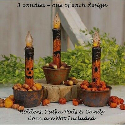 """HALLOWEEN TIMER TAPER CANDLES 3 Pcs 6.75"""" CAT JACK O LANTERN FACE SPIDERS Grungy"""