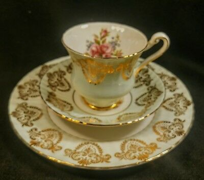 PARAGON * SIGNED * GILT on Mint Green TEA TRIO * cup saucer and luncheon plate