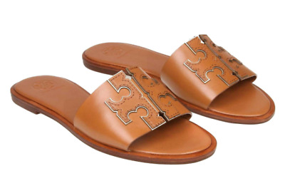 66d3346a948  228 size 5.5 Tory Burch Ines Tan   Gold Leather Flat Logo Slides Womens  Sandals