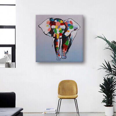 Hand-Painted Oil Painting - Cute Elephant | Modern Abstract Wall Decor Framed