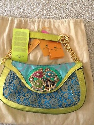 NWT Authentic Etro bag in turquoise brocade and Lime Leather trim