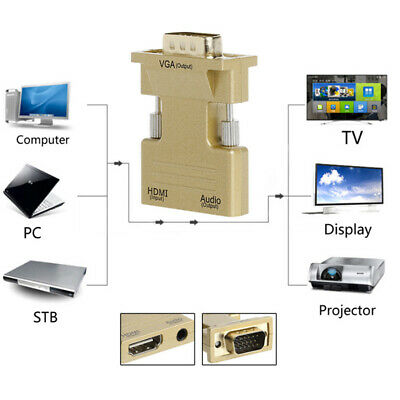 HDMI Female To VGA Male Converter With Audio Adapter 1080P For Tablet DVD PC TV