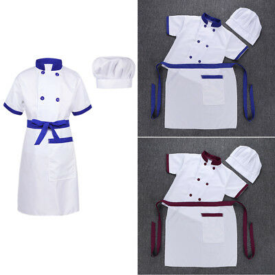 Kid Chef Costume Child Cook Cosplay Party Fancy Dress Up Jacket+Apron+Hat Outfit