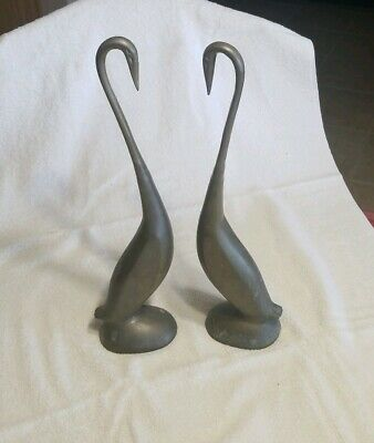 "PAIR Vintage Swan EGRET STORK Brass Large Retro  Figurines MCM 16"" tall HTF SET"