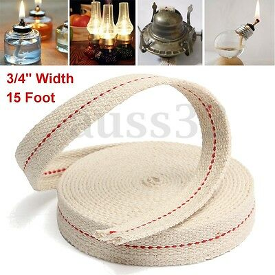 "3/4"" 15ft Feet White Flat Cotton Oil Lamp Wick Roll For Oil Lamps and  !"