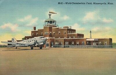 Vintage 1947 Minneapolis, MN Wold Chamberlain Field Airport Plane Post Card