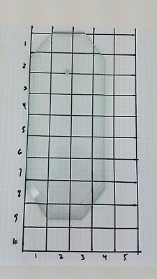 """8 5/8"""" x 3 1/2"""" beveled 8 sided Clear GLASS chandelier PANEL replacement EUC"""