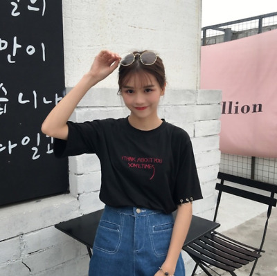 c6d4850c379 Ulzzang Harajuku Embroidery Casual Top Fashion Blusas Summer T-Shirt Korean