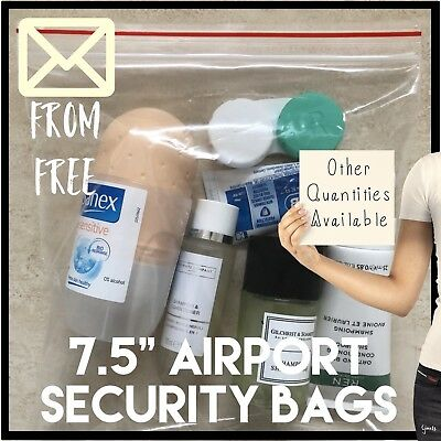 10 - Clear See Through Resealable Plastic Bag - 20cm Liquids airplane security