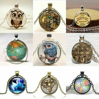 Retro Owl Dragon Cabochon Tibetan Bronze Glass Chain Pendant Necklace Gift NEW