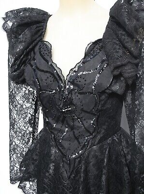 Vintage 1980s FORMAL DRESS LBD,  Ruffles lace features Gorgeous! size 10