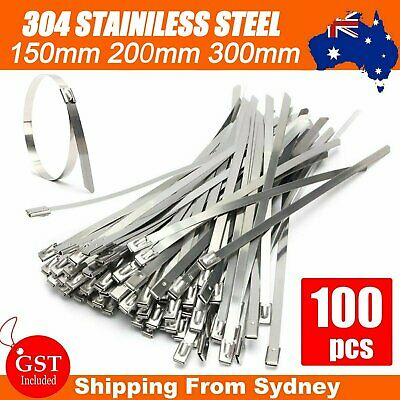 100pcs Stainless Steel Self Locking Cable Zip Ties Wrap Tie 150/200/300mm SS 304