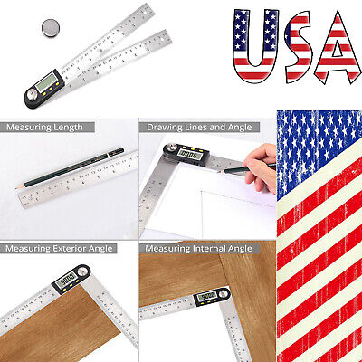 "8"" Inch Digital Angle Finder Protractor +Stainless Steel Angle Finder Ruler"