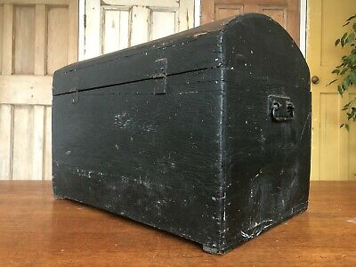Antique Victorian Chest - Dome Top - Coffer - Trunk - Domed