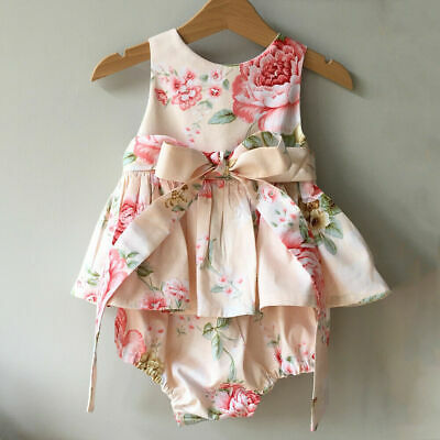 Toddler Infant Baby Girls Flower Romper Jumpsuit Bowknot Casual Outfits Clothes