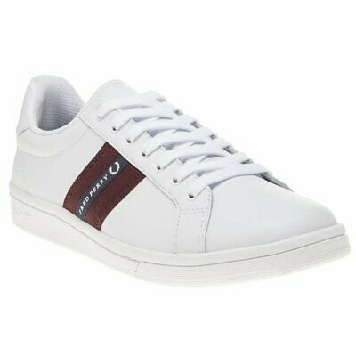 New Mens Fred Perry White B721 Leather Trainers Court Lace Up