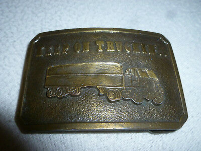 Vintage 1970S Keep On Truckin Belt Buckle Brass Mens 18 Wheeler Truck Driver