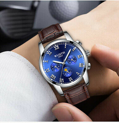 Fashion Men's Watches Stainless Steel Sport Quartz Analog Date Hours Wrist Watch