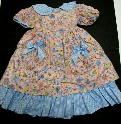 Vintage Girls Dress Sz 5 Pinafore Prairie Bunny Rabbit w Gingham Spring Rare