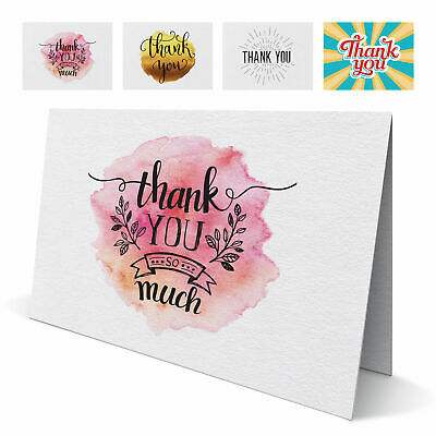 Various Folded Thank You Cards with Envelopes - Pack of 10